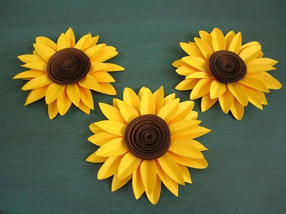 Set Of 3 Paper Sunflowers Paper Flowers Yellow Flowers Sunflower