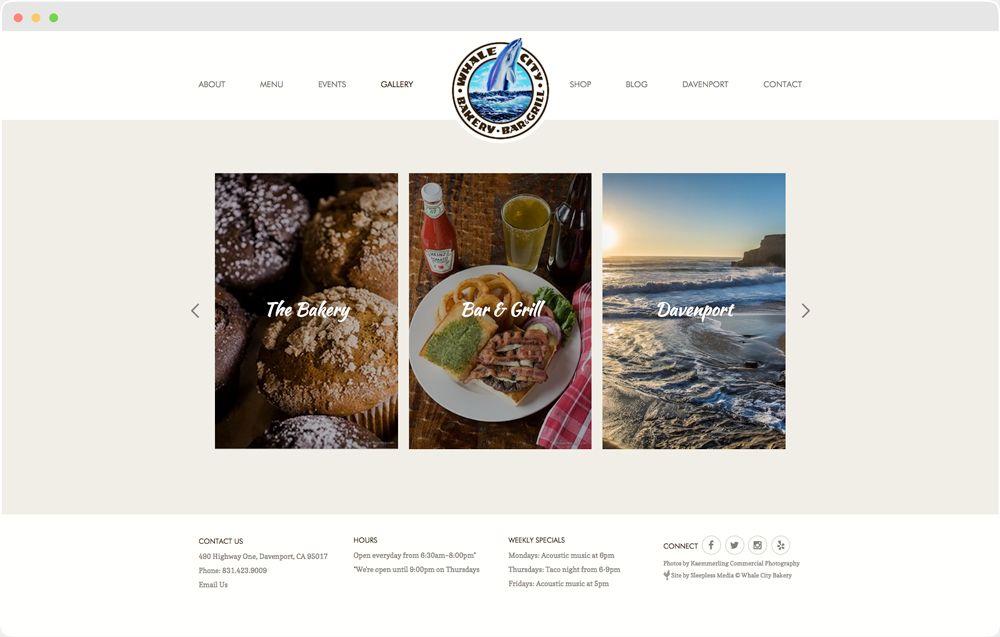 Whale City Bakery Bar Grill Web Design Portfolio Web Design Responsive Website Design Portfolio Design