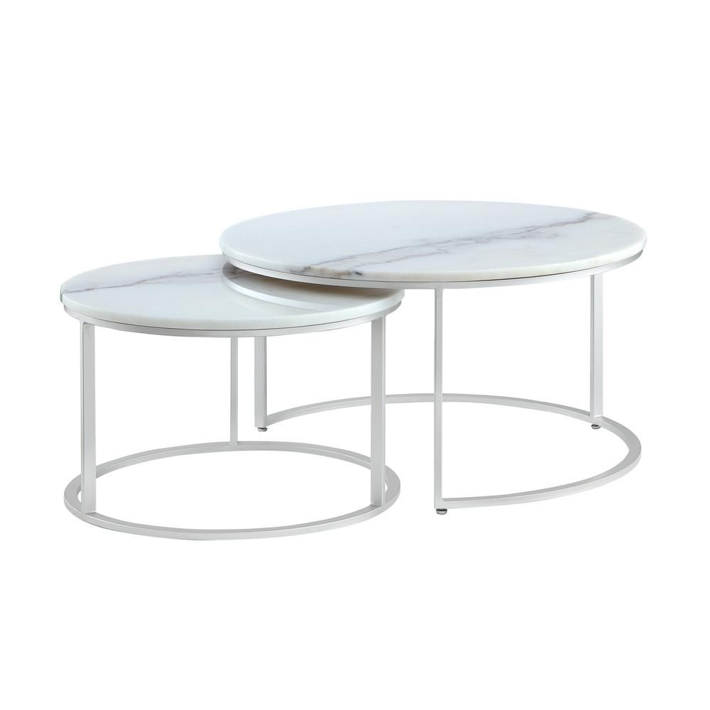 Inspired Home Marley 2 Piece 31 In Silver Gray Medium Round Stone Coffee Table Set With Nesting Tables Ct131 24ws Hd The Home Depot Coffee Table Faux Marble Coffee Table Silver Coffee Table [ 1000 x 1000 Pixel ]