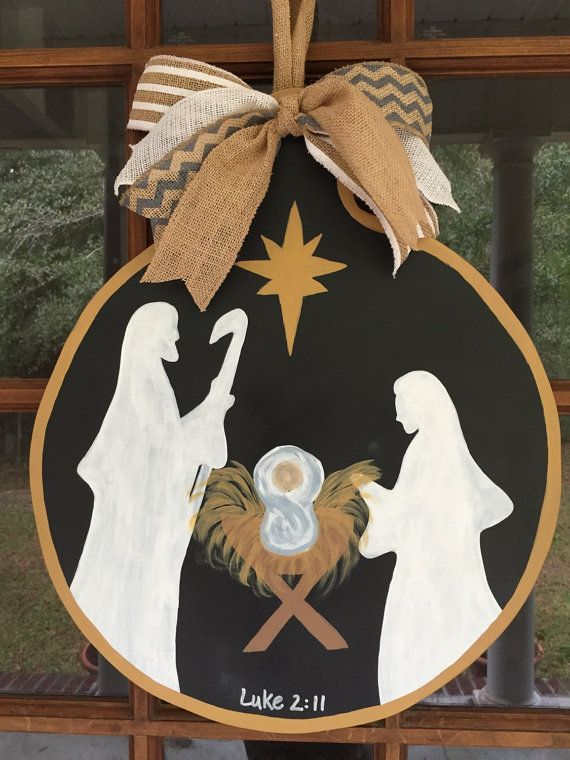 Nativity Wooden Door Hanger Manger Scene By