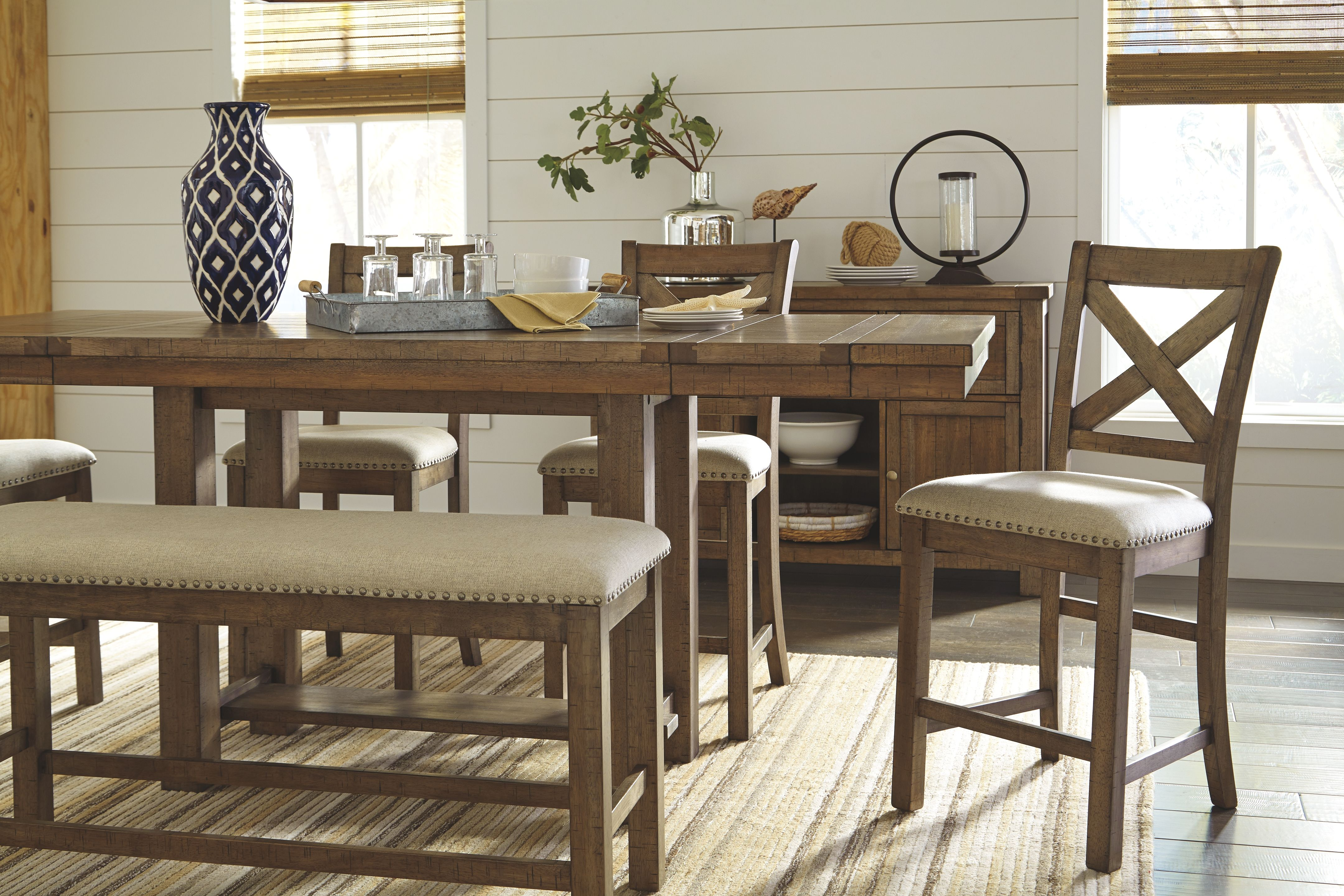 Moriville Counter Height Dining Room Bench Beige Dining Room