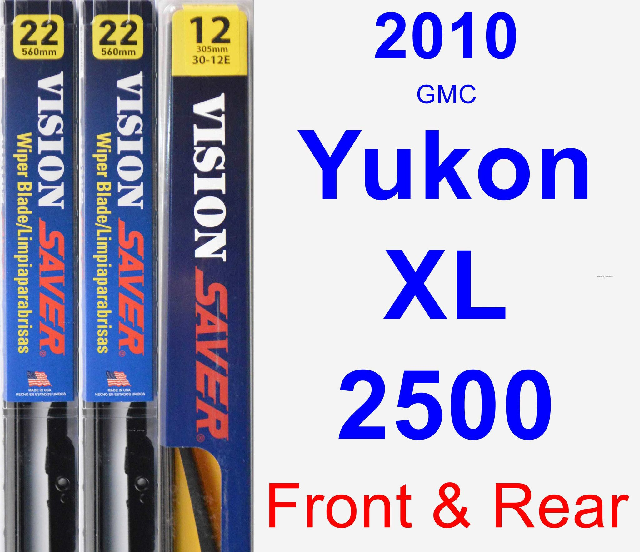 Front Rear Wiper Blade Pack For 2010 Gmc Yukon Xl 2500 Vision