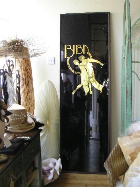 Biba Glass in bronze frame from the Kensington High Street Shop, black and gilt logo