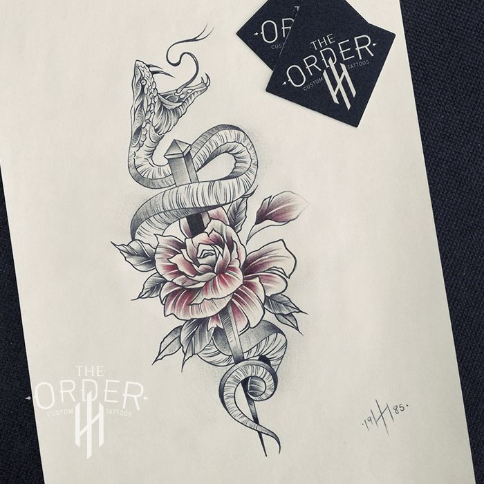 55f35e0e7 Neo Traditional Snake And Rose Tattoo – The ORDER | Tattoos | Snake ...