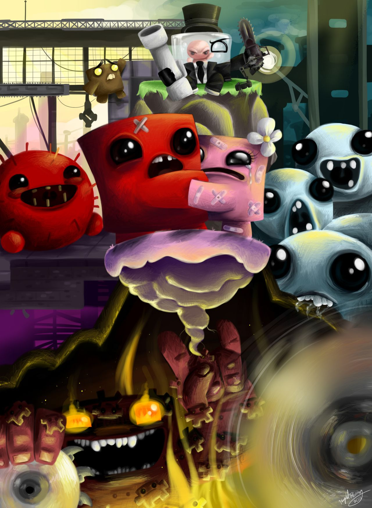 Super Meat Boy The Binding Of Isaac Boy Art Video Game Anime