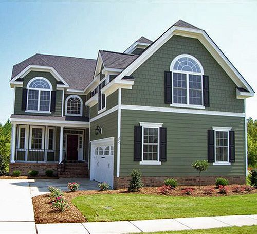 Green lap siding with brown roof sage green siding for Siding and shutter combinations