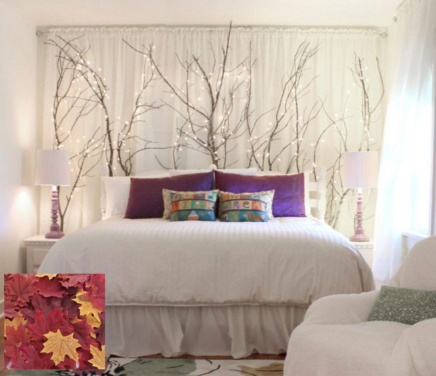 Bedroom with window over bed  tree branches with fairy lights and maple leaves behind bed