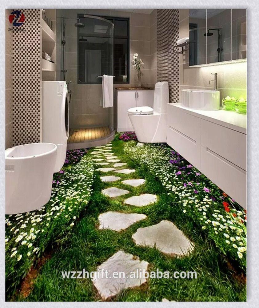 Hot Selling Free Sample Bathroom Washable Diy Decorative Room Decor 3d Wall Stickers Floor Murals Floor Wallpaper 3d Flooring