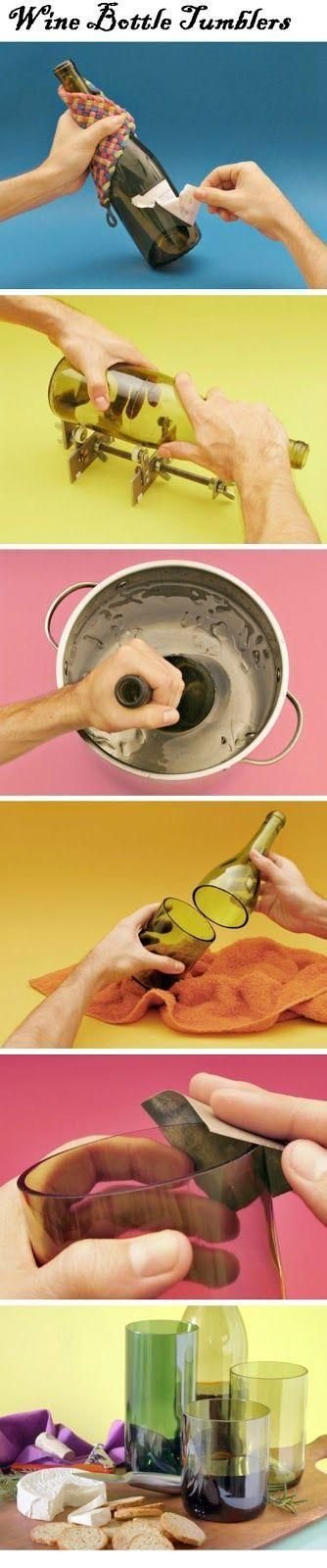Wine Bottle Tumblers   DIY Tutorials Another thing we have a lot of around the house is wine bottles. Not just because we drink a lot of wine but because we sometimes are too lazy to go to the recycle depot. So we decided look around and be more creative wine bottles and give us something to do with our kid. We came up with some neat l...