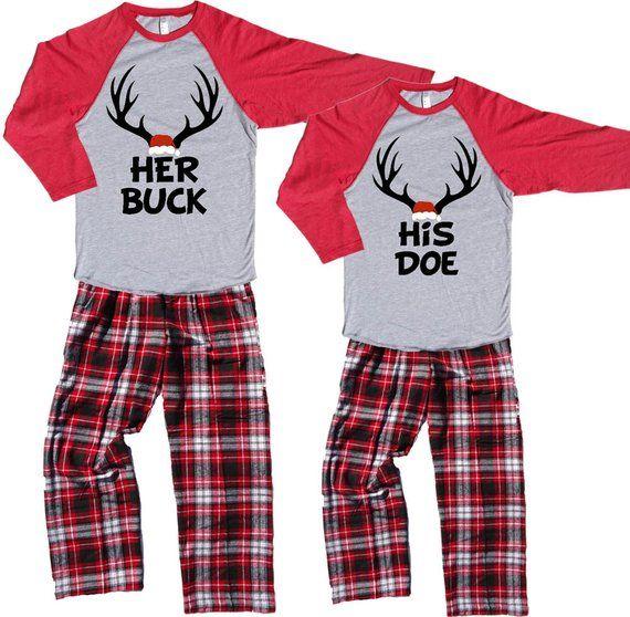 His And Hers Matching Christmas Pajamas: His DOE & Her BUCK Fun Couples Novelty Christmas Pajamas