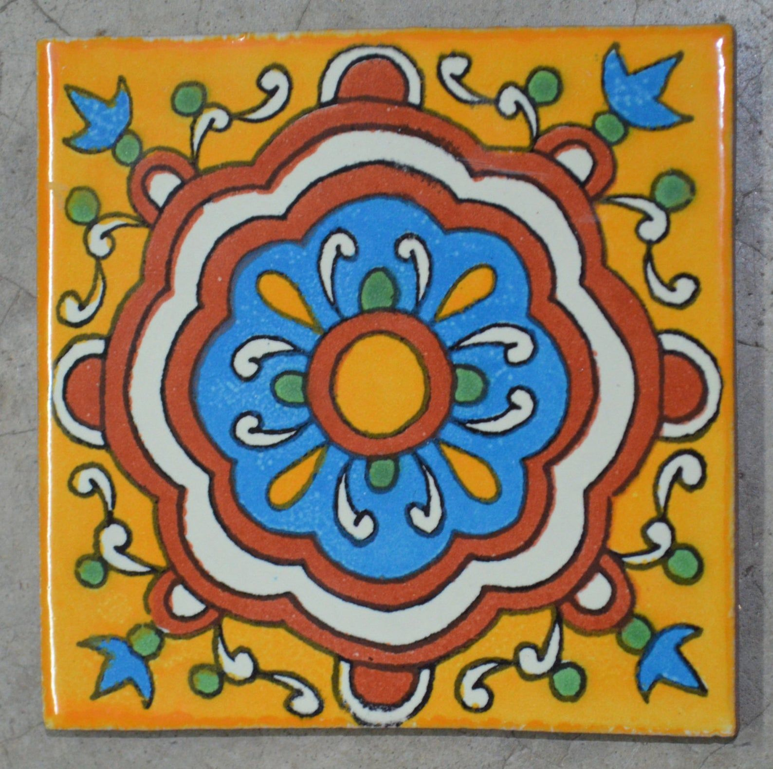12 Mexican Talavera Tiles Handmade Hand Painted 4 X Etsy In 2020 Talavera Tiles Mexican Talavera Talavera