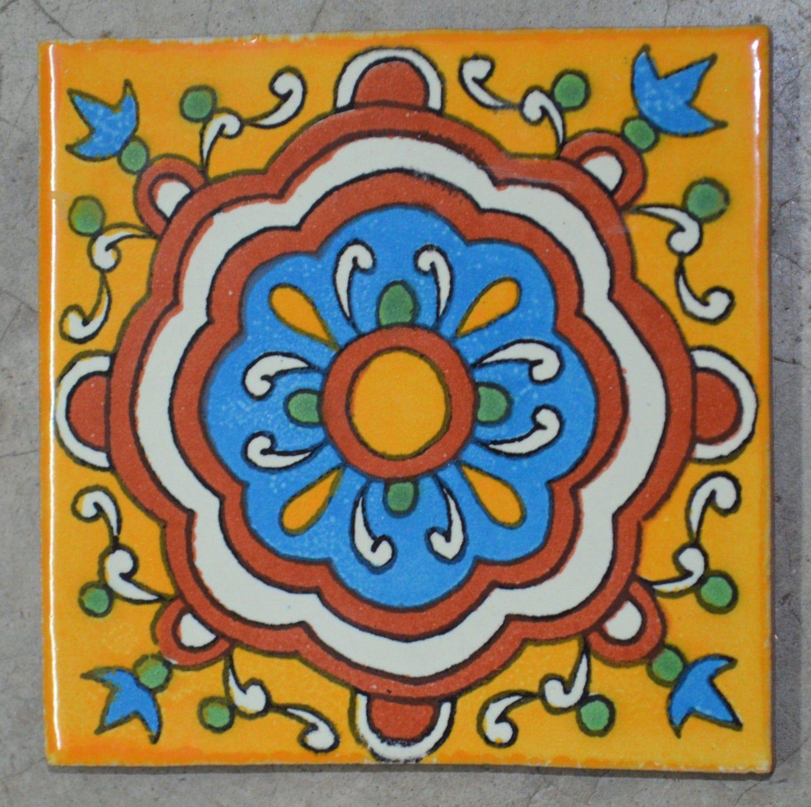 12 Mexican Talavera Tiles Handmade Hand Painted 4 X Etsy In 2020 Talavera Tiles Mexican Talavera Talavera