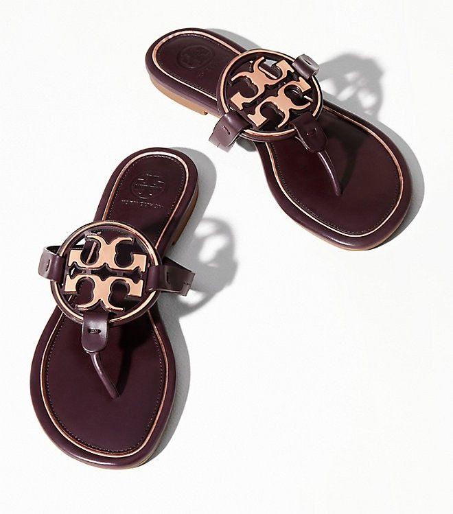 cdb3e43e7 Tory Burch Miller Metal-Logo Sandal, Leather - Malbec / Rose Gold 5 ...
