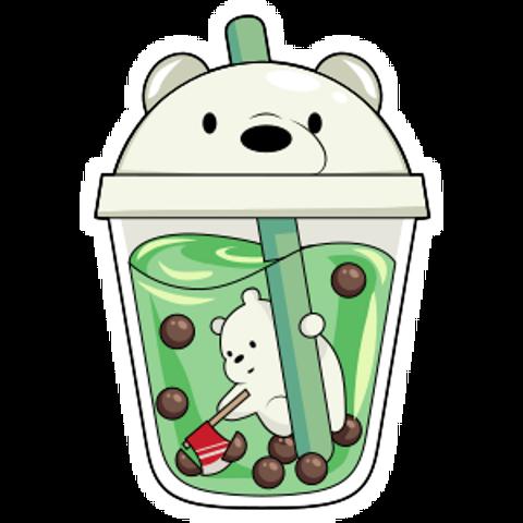 We Bare Bears Ice Bear in Boba Tea Sticker - Sticker Mania