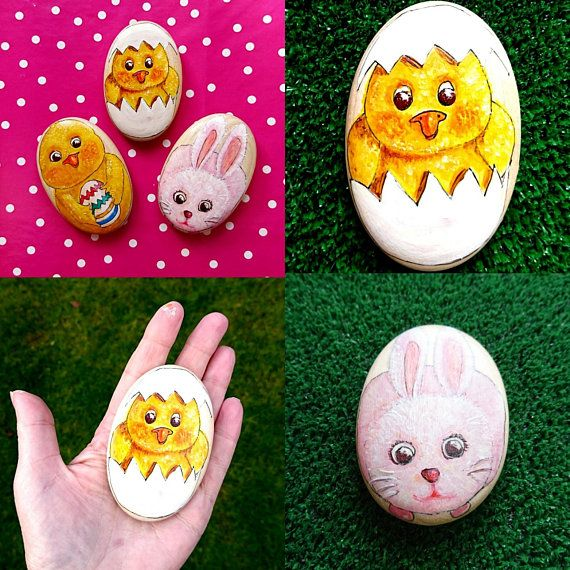 Easter animal paper weight wooden pebble art easter present bunny easter animal paper weight wooden pebble art easter present bunny gift baby chick collectable worry stone easter egg art egg art pebble art and easter negle Choice Image
