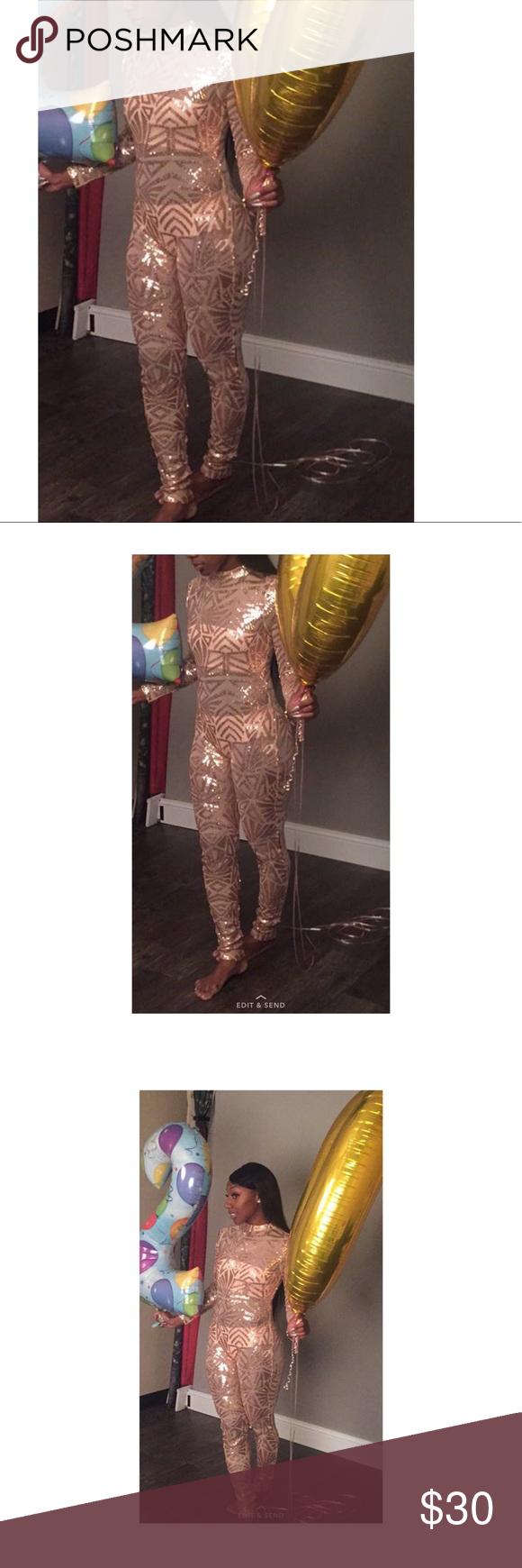 d449d5f334 Nude jumpsuit Rose Gold Jumpsuit from fashion nova