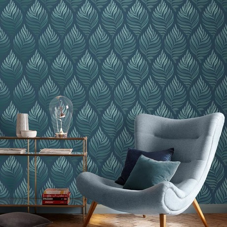 Botanica Wallpaper Wallpaper Living Room Accent Wall Teal Wallpaper Teal Interiors