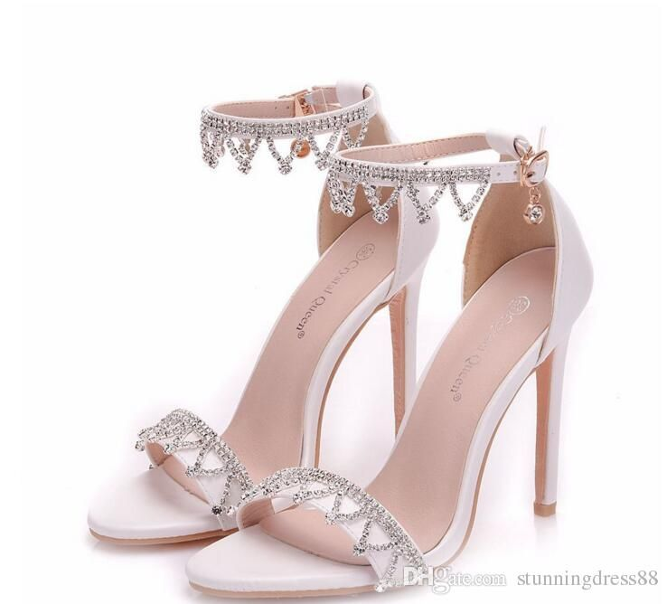 2021 Glittering Crystal Wedding Shoes For Bride Rhinestones Pumps Cheap Bridal Shoes Open Toe Beaded From Stunningdress88 25 78 Dhgate Com Bride Shoes Stiletto Heels Heels