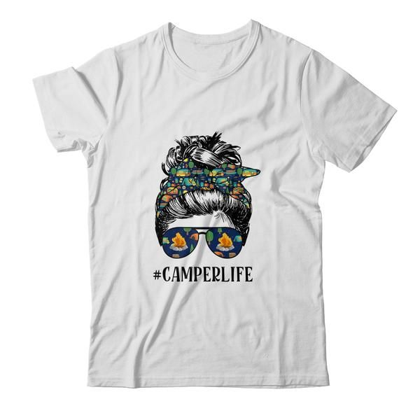 Camper Life Messy Bun Hair Mother's Day Camping Lovers Shirt Tank Top Funny Saying Mom Camper Life Mother's Day Camping Outdoor Sport Campfire Night Drinking Shirt Girls Ladies Women Unisex Funny Summer Ideas I Love Lets Go For Beginners Tee T-Shirts Clothes Outfits Apparel Costume Great Saying For Men Women Girls Guy