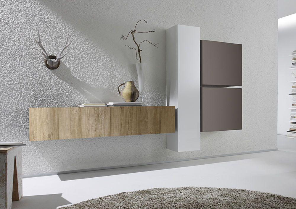 Dettagli su parete attrezzata moderna di design rovere for Mobili sala angolari