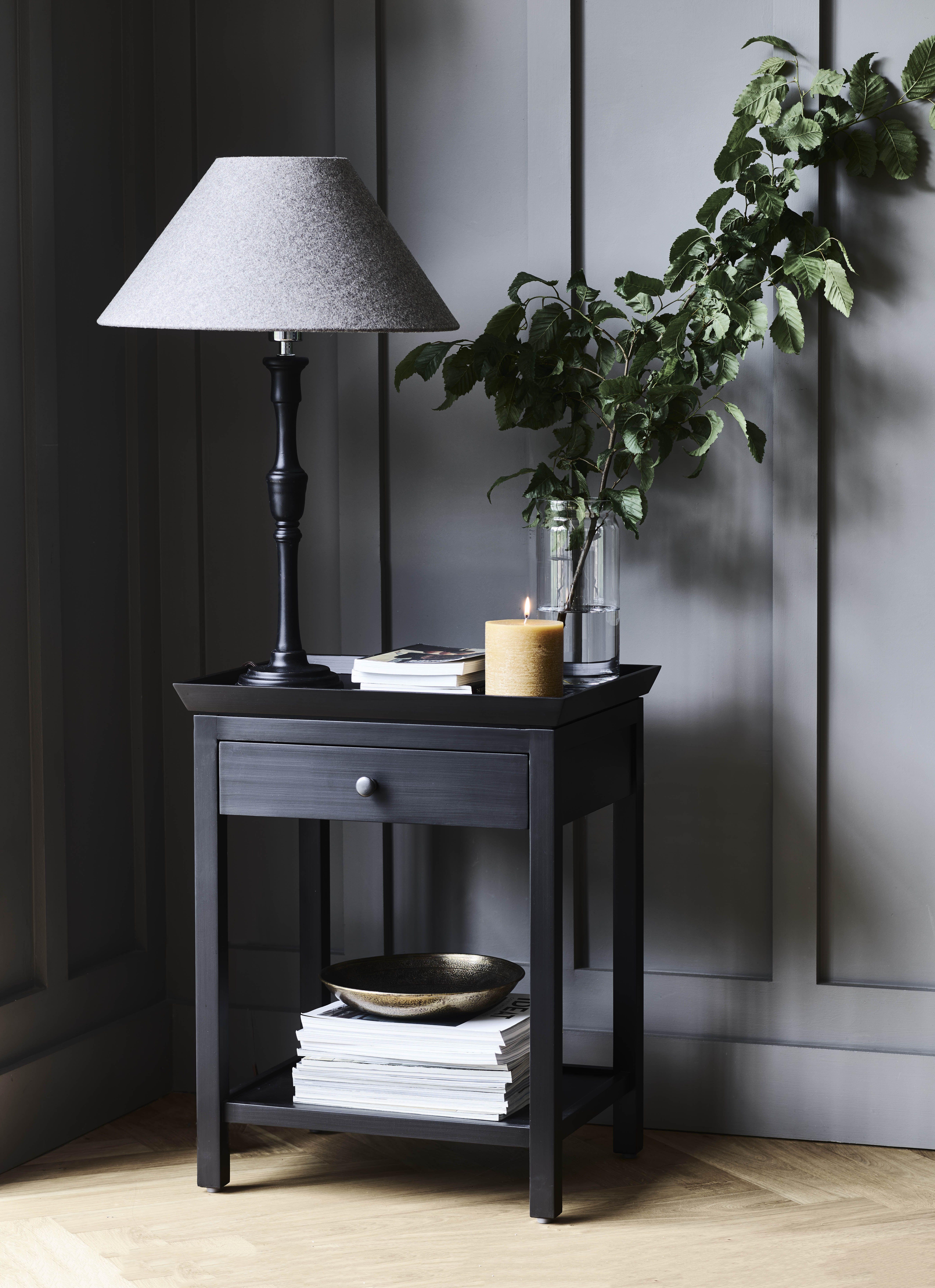 Black Bedside Table Uk Neptune With Images Black Bedside