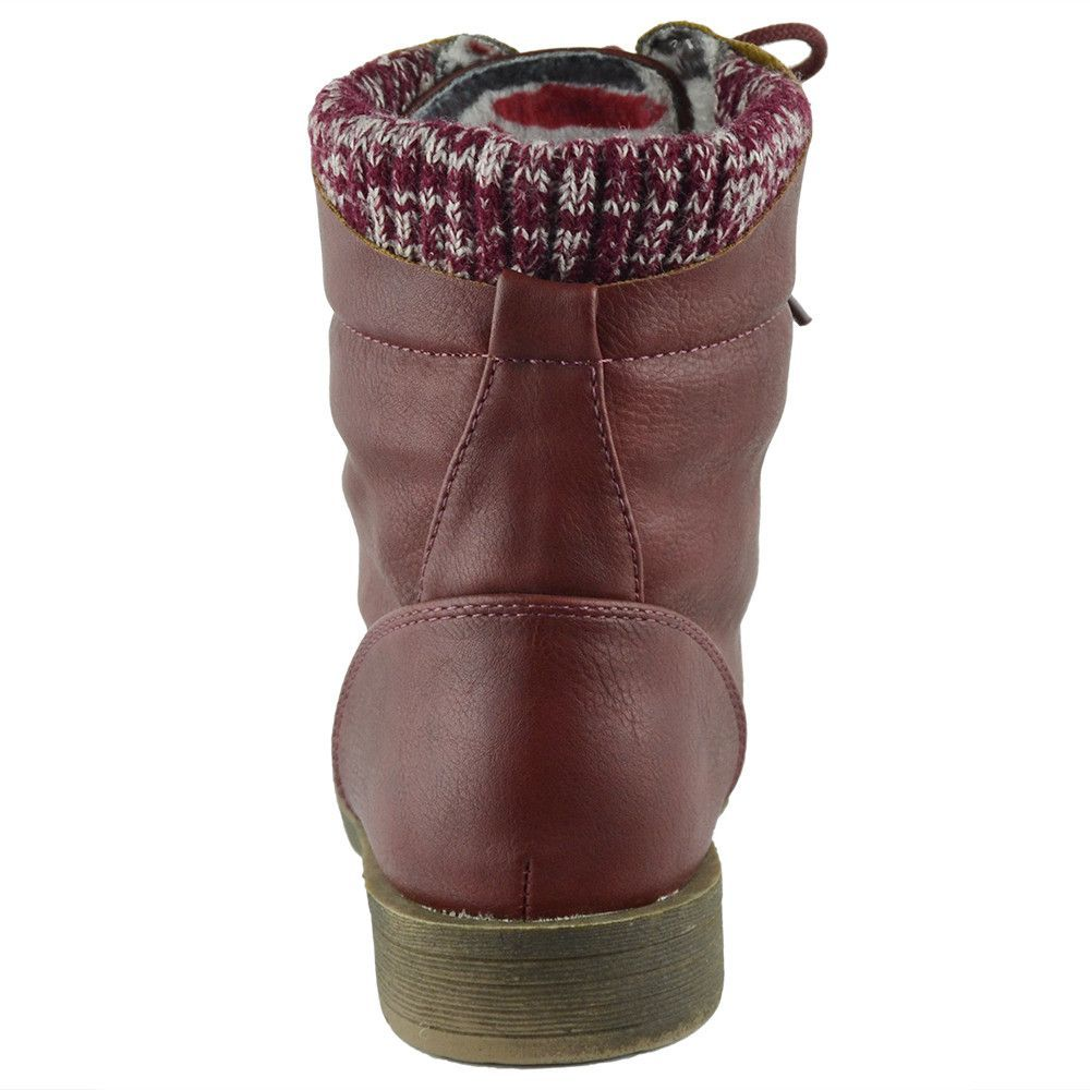 Kids Ankle Boots Knitted Cuff Casual Combat Lace Up Shoes Tan
