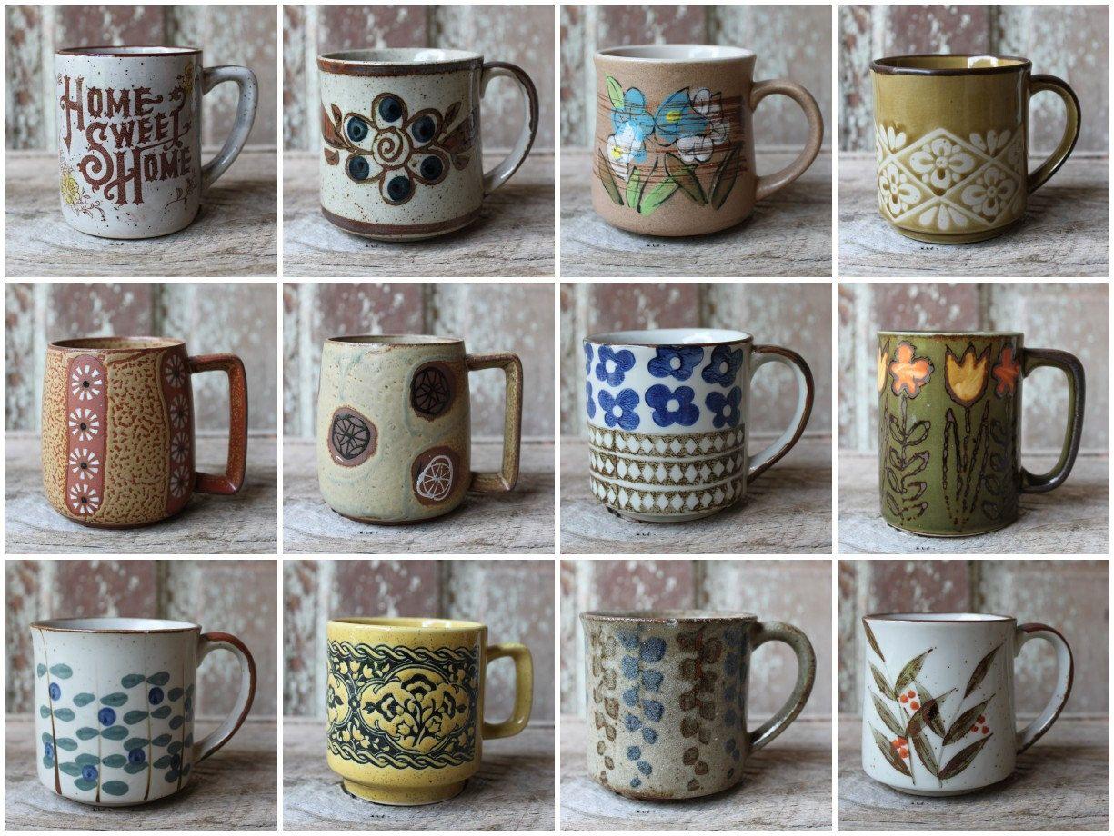 vintage mugs mismatched set of 12 japanese stoneware