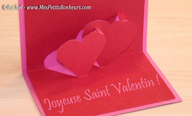Saint Valentin Carte 3d Coeurs Modele A Imprimer Et Explications Du Pop Up Carte 3d Carte Carte St Valentin