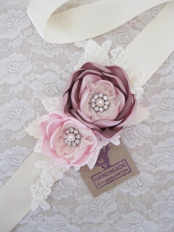 Blush Bridal Sash. Bridal Blush Flower Dress Sash. Wedding Dress Sash.