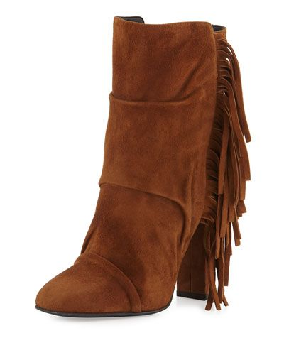 Giuseppe Zanotti Suede Fringe-Trim Booties cheap sale comfortable official site online YPD0G