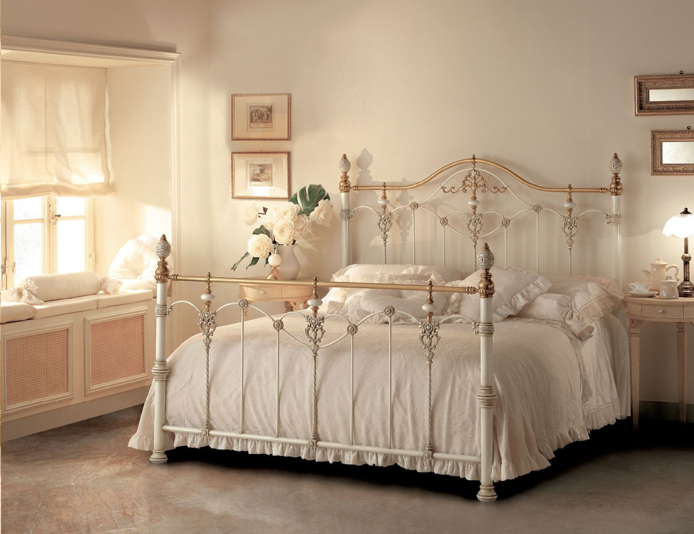 Luxor Iron Bed With Brass And Ceramic Elements Shabby Chic
