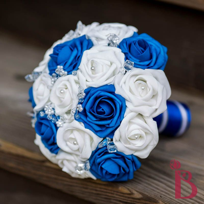 Royal Blue Silver White Wedding Bouquet Silk Roses Flowers