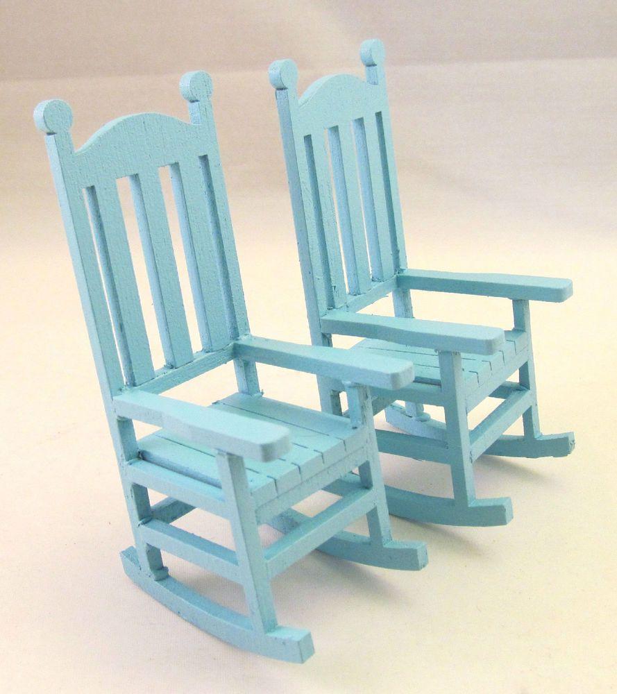 Miniature Dollhouse Fairy Garden Rocking Chair Cake Topper Baby Blue Rocking Chair Garden Rocking Chair Doll House