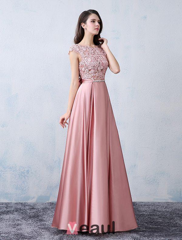 Beautiful Party Dresses 2016 Square Neckline Applique Lace Pink ...