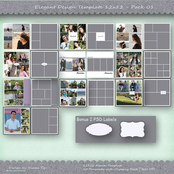 X Photo Album Template Pack  Templates Photo Collage