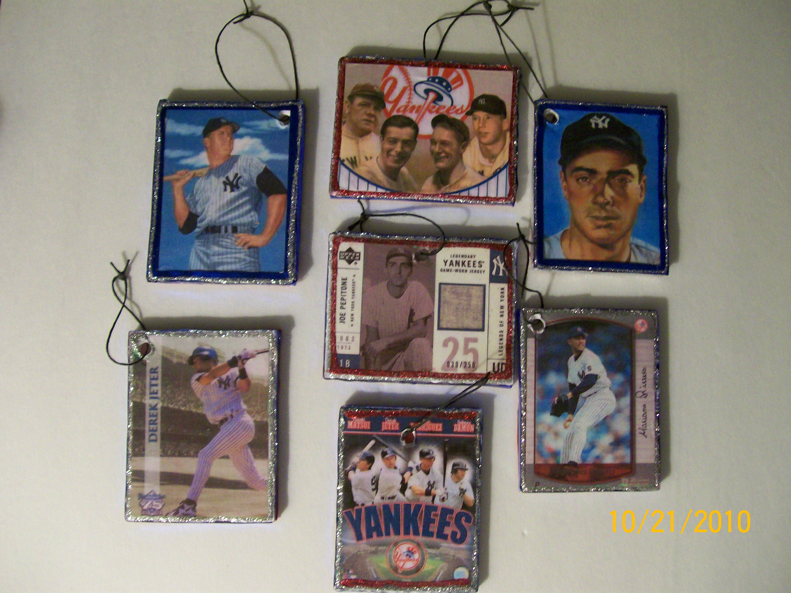 Ny Yankee Baseball Card Ornaments Lauries Crafts