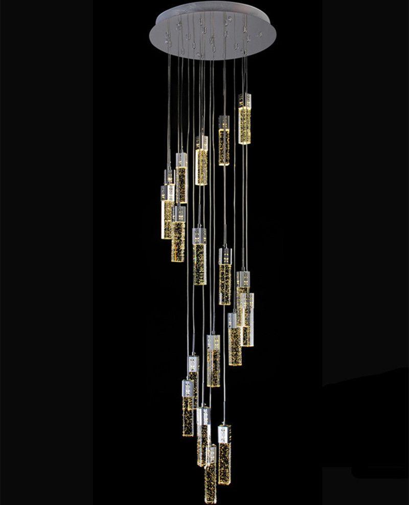 Ceiling Lights & Fans Spiral Crystal Chandelier Led Stair Lighting Hotel Stairwell Lamp For Living Room Long Spiral Crystal Light G4 Led Lustre Light Chandeliers