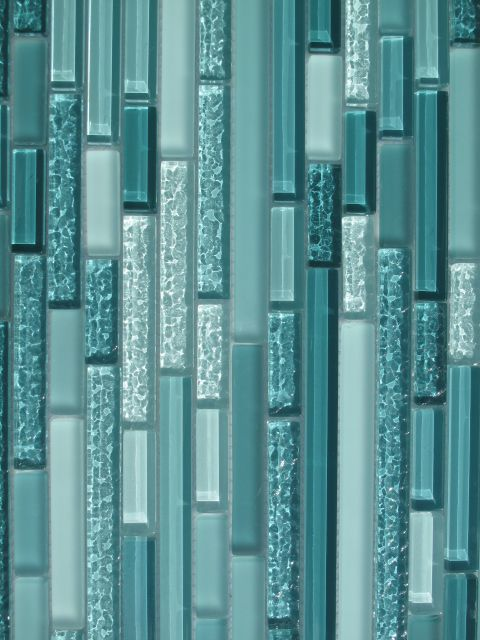 Turquoise Glass Tilw Aqua Horizontal Mosaic Glass Tile