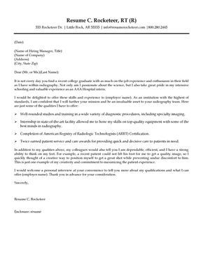 cover letter sample of a new graduate applying for a job as a radiologic technologist - Cover Letter Sample Helpful Tips