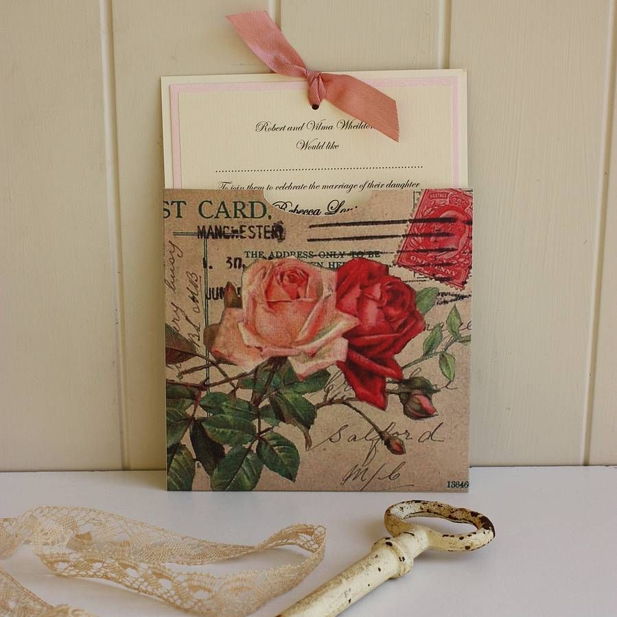 A lovely wedding invitation featuring vintage roses. The perfect way ...