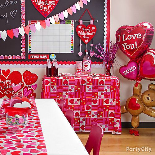 Valentines Day Classroom Decorating Idea: tablecloth over bookcase ...
