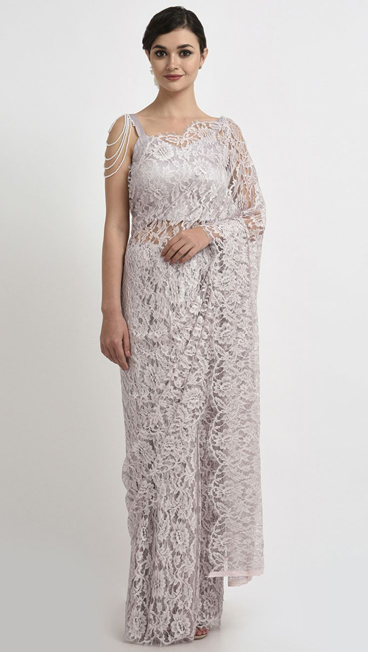 00c173a1a0620 Rose Grey French Chantilly Lace Saree With Pearl Shoulder Necklace Blouse