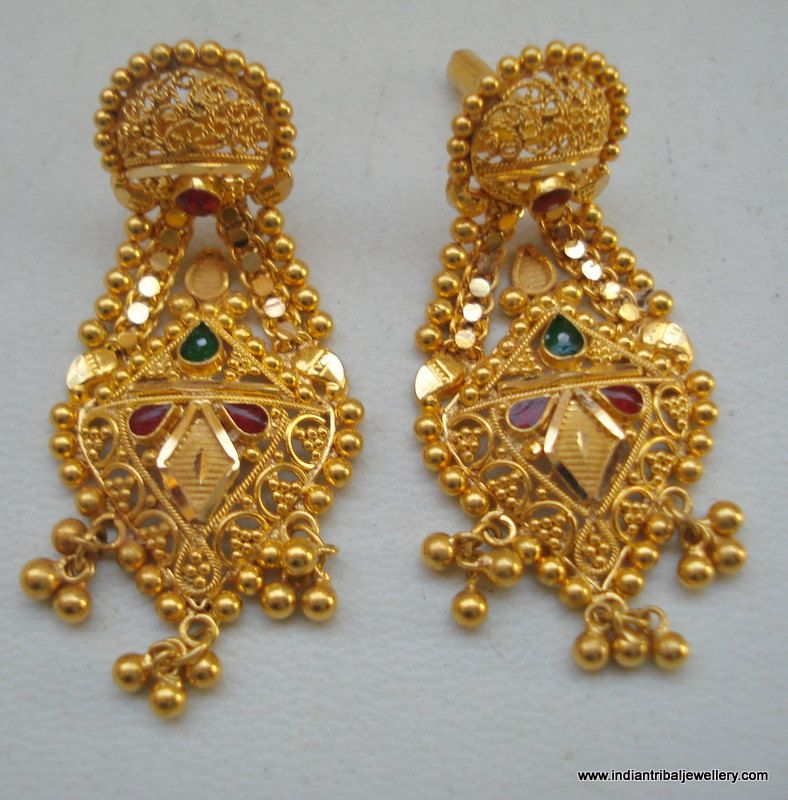 ethnic 20k gold earrings handmade jewelry from rajasthan india