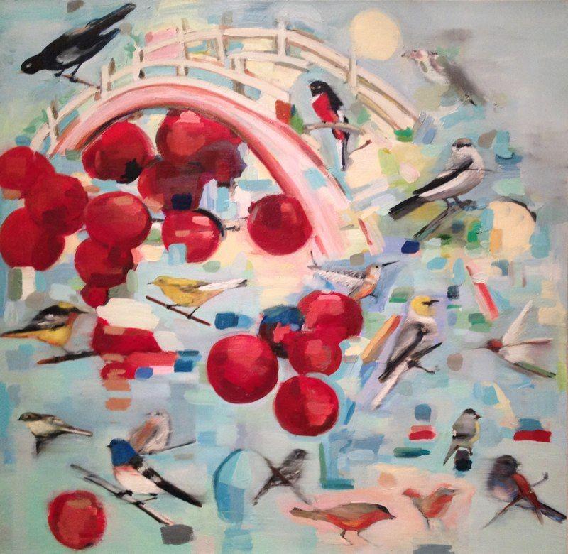 "Cherry Bridge, 30x30"", oil on canvas, 2012 MARY ANN STRANDELL ©"