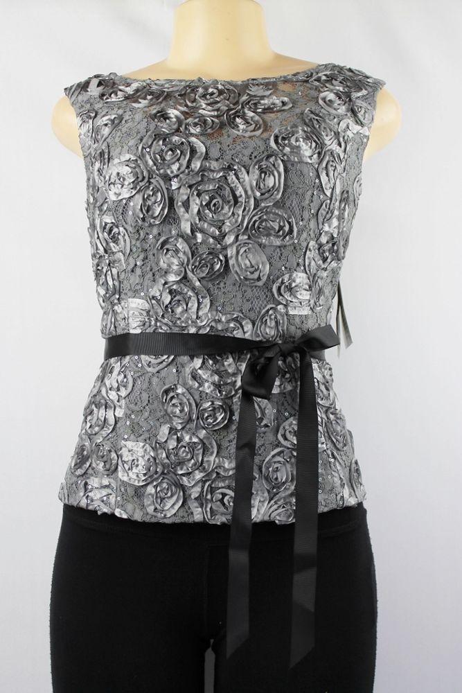 876857a5fbc427 Alex Evenings sleeveless formal sequin lace blouse silver size LP ...