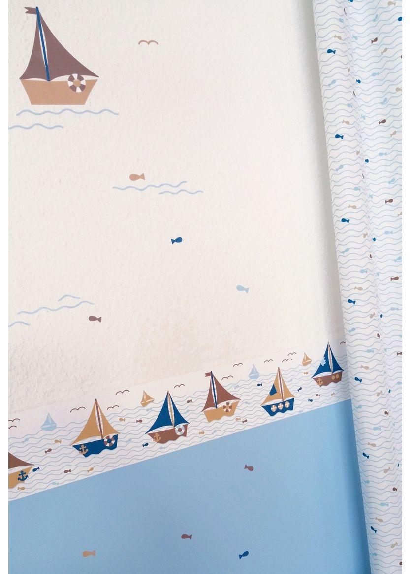 Kinderzimmer Bordüre Schiffchen blau/beige, selbstklebend ...