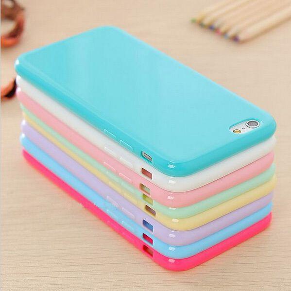 뜨거운! 솔리드 candy 컬러 tpu 부드러운 고무 피부 커버 전화 case 대한 apple iphone 6 4.7 ''inch 전화 액세서리 12 색