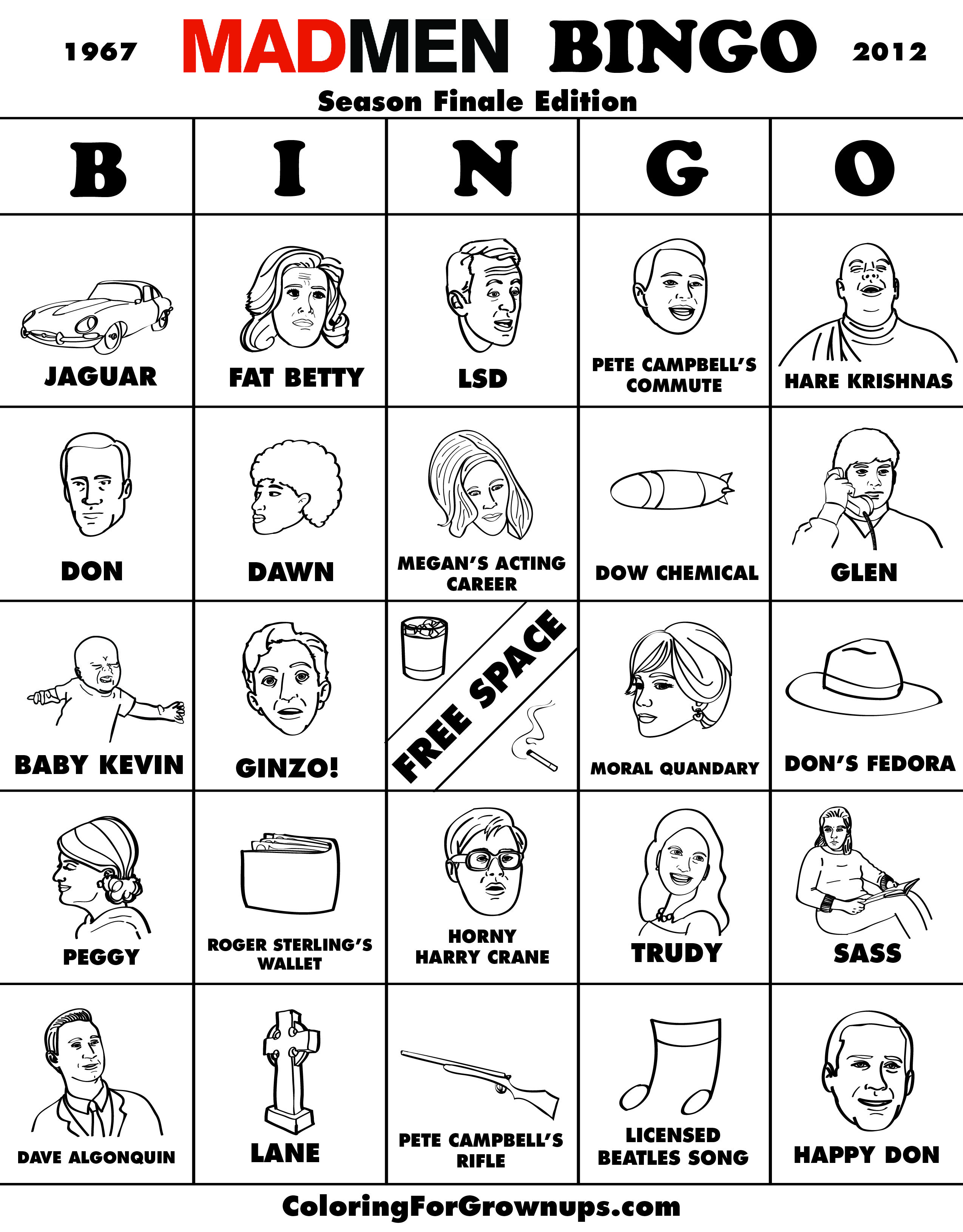 Mad Men Bingo
