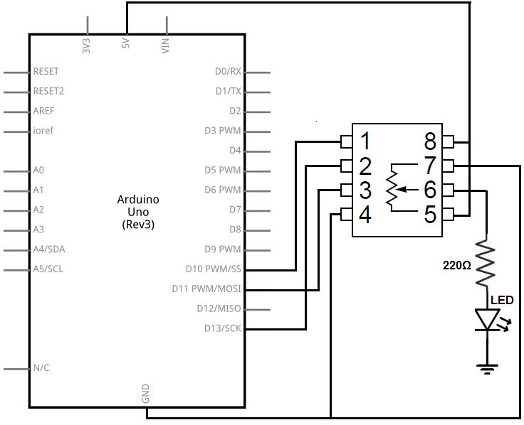 mcp4131 digital potentiometer circuit electro arduino, circuit ymcp4131 digital potentiometer circuit
