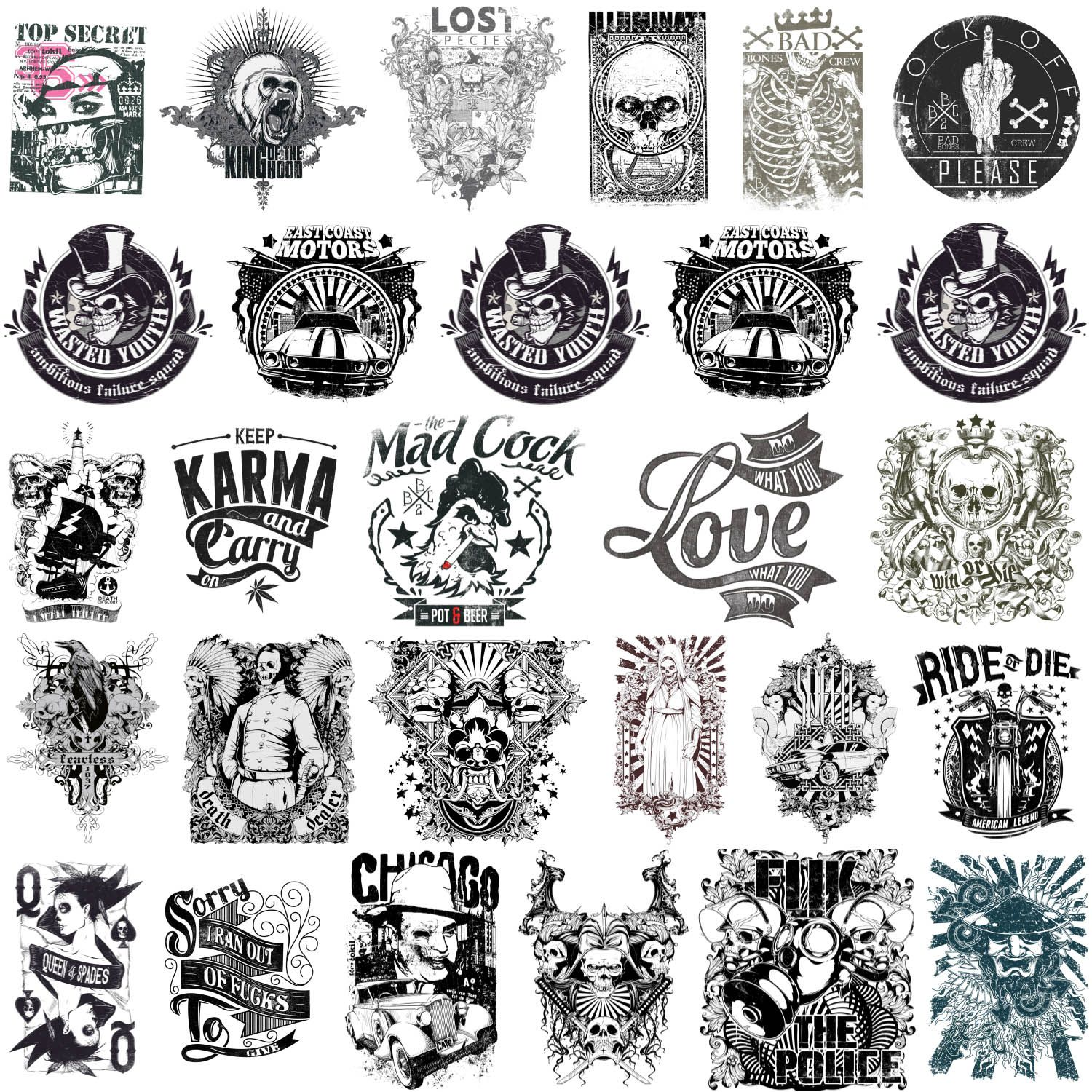 Free t-shirt design - Scary T Shirt Designs Or Tattoos With Skulls Bad Bones Biker Theme And